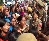 Locals protest outside Alipur police station in Delhi over arrest of murder accused