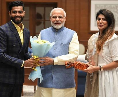 Rediff Cricket - Indian cricket - PIX: When Ravindra Jadeja met PM Modi