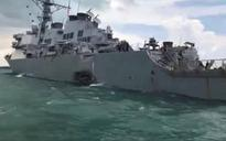 5 sailors injured, 10 missing after US warship collides with tanker near Singapore
