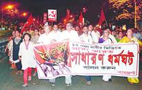 Left marches to drum up support for strike