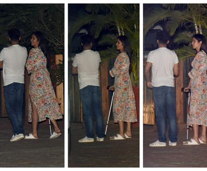Current Bollywood News & Movies - Indian Movie Reviews, Hindi Music & Gossip - Katrina Kaif spotted with a walking aid