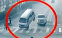 Bizarre video: Bus, car 'levitating' on a busy road in China
