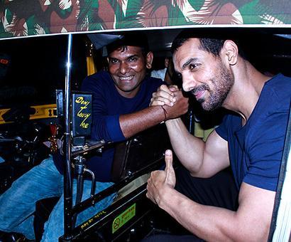 Current Bollywood News & Movies - Indian Movie Reviews, Hindi Music & Gossip - John Abraham takes a rickshaw