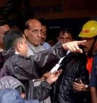 Home minister Rajnath Singh visits landslide-hit village in Pune