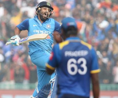 Rediff Cricket - Indian cricket - 2nd ODI: Ruthless Rohit double ton leads India to series-levelling win