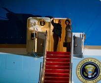 LIVE: Modi greets Obama on historic second visit with a hug