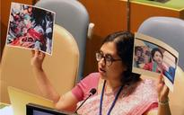 Holding photo of martyr Lt Umar Fayaz in one hand, diplomat exposes Pakistan's sham at UNGA