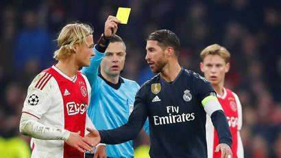 Rediff Sports - Cricket, Indian hockey, Tennis, Football, Chess, Golf - Sergio Ramos says he got yellow card on purpose against Ajax