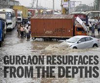 A day after, Gurgaon roads still waterlogged