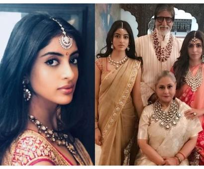 Current Bollywood News & Movies - Indian Movie Reviews, Hindi Music & Gossip - Navya looks pretty in Jaya Bachchan's saree