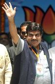 Union Minister for Transport Gadkari rides scooter without helmet