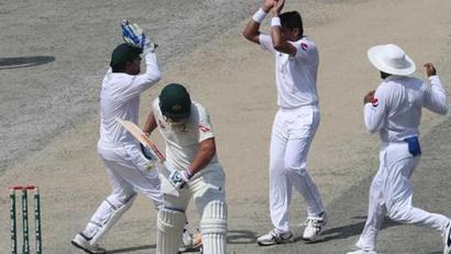 Rediff Sports - Cricket, Indian hockey, Tennis, Football, Chess, Golf - Pakistan vs Australia: Abbas destroys visitors to put PAK on top in Abu Dhabi T...