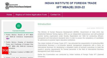 NTA IIFT MBA result 2020 for entrance exam released, here's direct link
