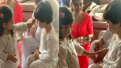 Saif Ali Khan helps Inaaya tie rakhi to Taimur as Soha Ali Khan looks on. See pics...