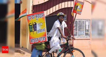Trichy: Man on all-India bicycle tour to raise awareness on hygiene