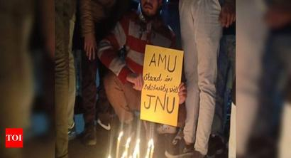 AMU students hold rally, demand JNU VC's resignation over campus violence