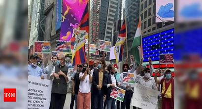 Indian-American community holds 'Boycott China' protest at Times Square in New York