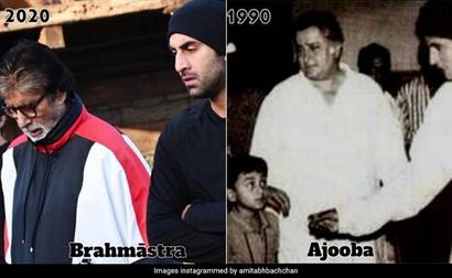 In Big B's Then And Now Pics - Ranbir And Shashi Kapoor