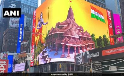 Ayodhya Temple Model Beams In New York's Iconic Times Square
