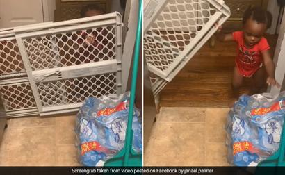 One-Year-Old Baby Lifts Gate To Steal Snacks, Hilarious Video Will Make You Laugh