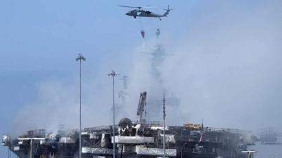 US Navy battles for 2nd day to save burning warship in San Diego
